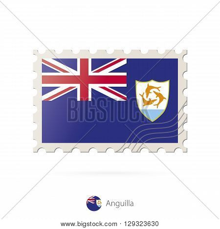 Postage Stamp With The Image Of Anguilla Flag.