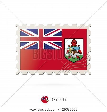Postage Stamp With The Image Of Bermuda Flag.
