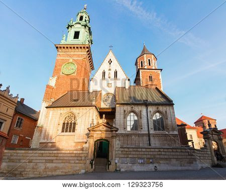 The Royal Archcathedral Basilica of Saints Stanislaus and Wenceslaus, Wawel cathedral church facade in Krakow, Poland