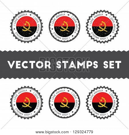 I Love Angola Vector Stamps Set. Retro Patriotic Country Flag Badges. National Flags Vintage Round S