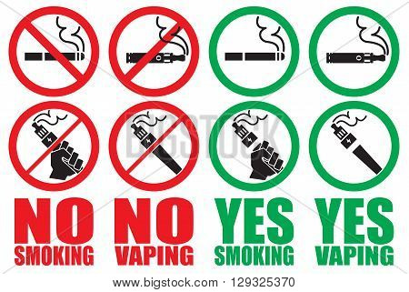 set vaping icons no smoking sign vape yes smoking area