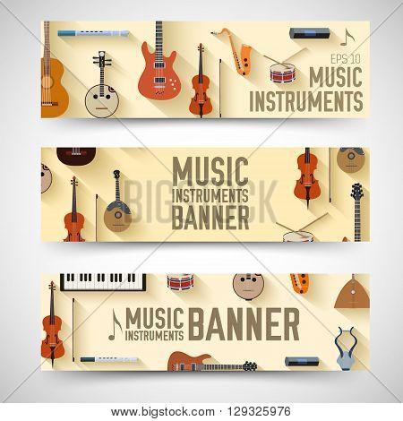 Flat Music Instruments Background Concept. Vector Illustrator