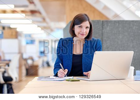 Portrait of an attractive businesswoman working at her desk in a shared office space, looking at the camera with a gentle and confident smile