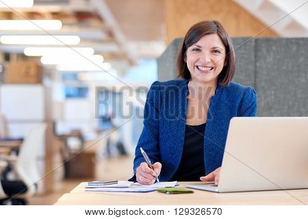 Portrait of an attractive businesswoman working at her desk in her office cubicle with paperwork and a laptop computer, looking at the camera and smiling broadly