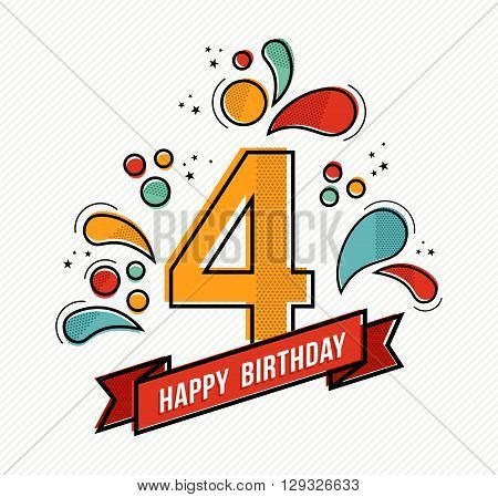 Colorful Happy Birthday Number 4 Flat Line Design
