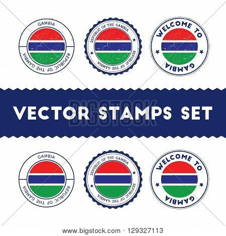 Gambian Flag Rubber Stamps Set. National Flags Grunge Stamps. Country Round Badges Collection.