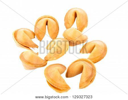 fortune cookies isolated over white background wish, one,