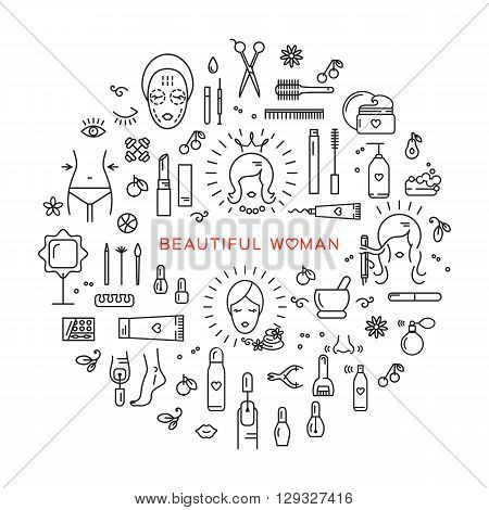 Set of line icons on a theme: beauty, cosmetics, hairdressing salon, spa salon, cosmetology. Icons in the modern linear style vector arranged in a circle. The concept for a brochure, flyer, cover
