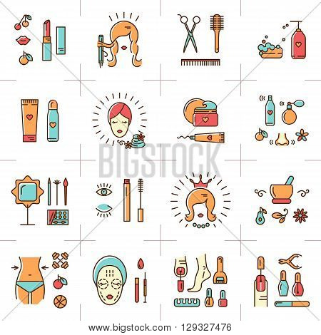 A set of colorful line icons on a theme: beauty, cosmetics, hairdressing salon, spa salon, cosmetology. Icons drawn in the modern linear vector style. Vector illustration