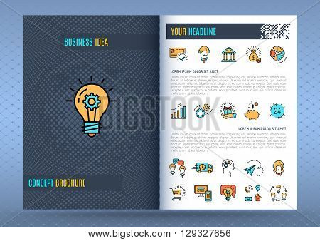 Brochure design template, business concept flyers, covers, catalog, corporate identity, Vector line icons set: marketing media shopping e-commerce finance banking