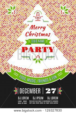 Christmas party invitation modern typography and ornament decoration. Christmas holidays flyer or poster design. Colorful dotted background with a silhouette of a Christmas tree