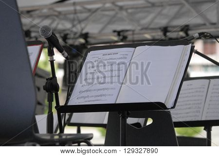 ANKARA/TURKEY-MAY 8, 2016: Umit Eroglu METU Bigband orchestra's music paper at the stage of Sinpas Altin Oran Square during the 20. International Ankara Jazz Festival. May 8, 2016-Ankara/Turkey