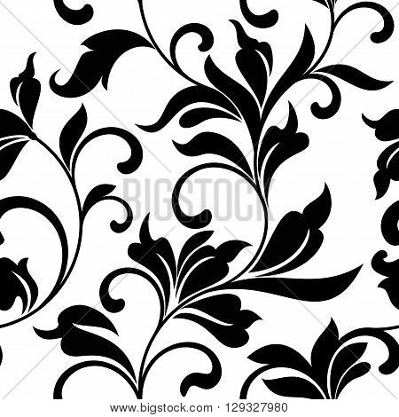 Elegant Seamless Pattern With Black Classic Floral Tracery On A White Background. Vintage Style.