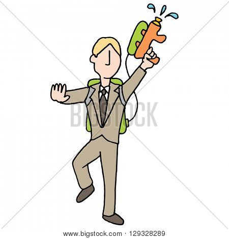 An image of a businessman with water gun