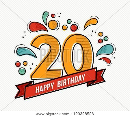 Colorful Happy Birthday Number 20 Flat Line Design