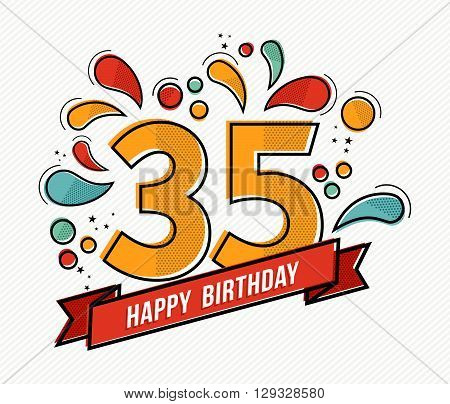 Colorful Happy Birthday Number 35 Flat Line Design