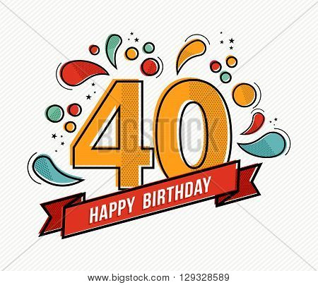 Colorful Happy Birthday Number 40 Flat Line Design