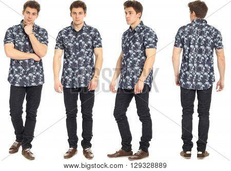 Full length portrait of handsome man in jeans