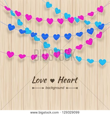 Heart background. Colorful garland of hearts on a wooden board. Valentine's day and love background. Vector illustration garland isolated