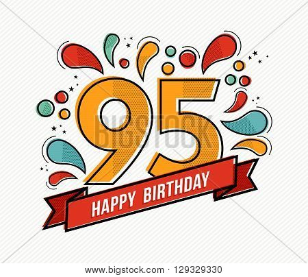 Colorful Happy Birthday Number 95 Flat Line Design