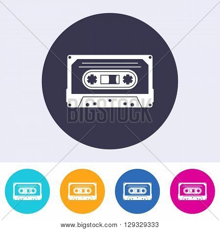 Vector audio cassette icon on round colorful buttons