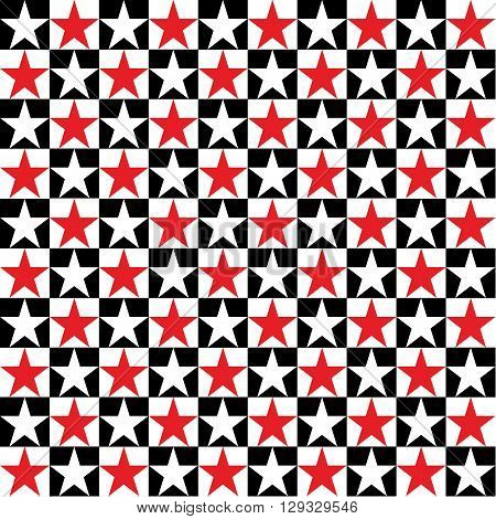 Seamless pattern with stars. Red and white stars on a chessboard