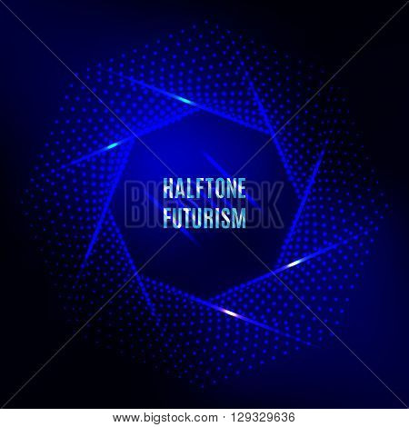 Light frame Futuristic technology style halftone design element, logo, halftone background for your flyers and banners. Colorful blue halftone futurism vector illustration
