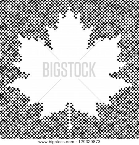 Maple leaf isolated halftone design elements, graphics autumn background, place for text. Black on white dots vector texture