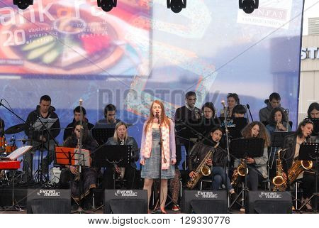 ANKARA/TURKEY-MAY 8, 2016: Umit Eroglu METU Bigband orchestra at the stage of Sinpas Altin Oran Square during the 20. International Ankara Jazz Festival. May 8, 2016-Ankara/Turkey