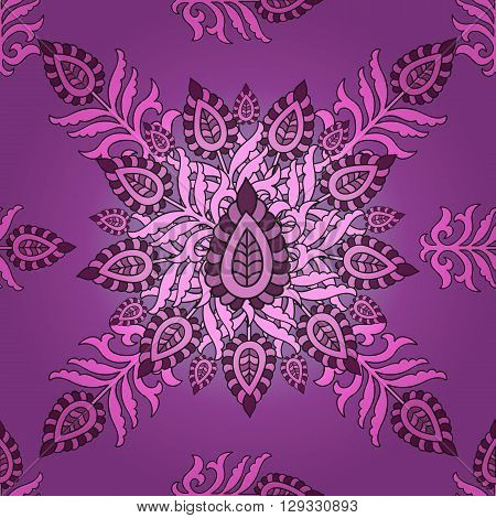 vector seamless Eastern pattern. Seamless floral pattern for fabric, paper, design, web. Mandala pattern with Arabic, Turkish or Indian motifs. - stock vector