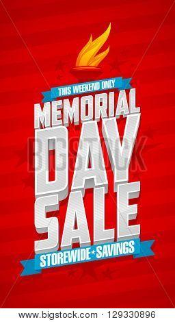 Weekend memorial day sale, storewide savings red banner.