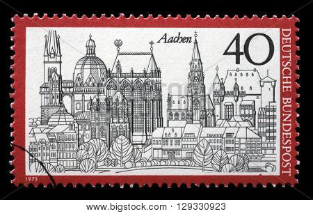 ZAGREB, CROATIA - JULY 03: A stamp printed in Germany from the Tourism issue shows Aachen, circa 1973, on July 03, 2014, Zagreb, Croatia