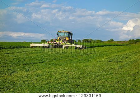 tractor mowed and green clover on the field