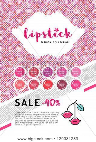 Beauty makeup, lipstick discount on A4 flyer. The concept of the printing template, directory covers, brochures or web banner on the theme of beauty, cosmetics makeup. Vector illustration