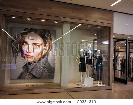 ALBERTA, CANADA - SEPTEMBER 21, 2014: View at LOFT store in Alberta. LOFT is more casual part of Ann Taylor brand founded at 1996.