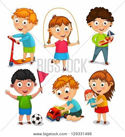 Kids are playing with toys. Boys are  riding a scooter, playing with a toy car and a ball. Girls are jumping rope and playing with a doll. Vector illustration