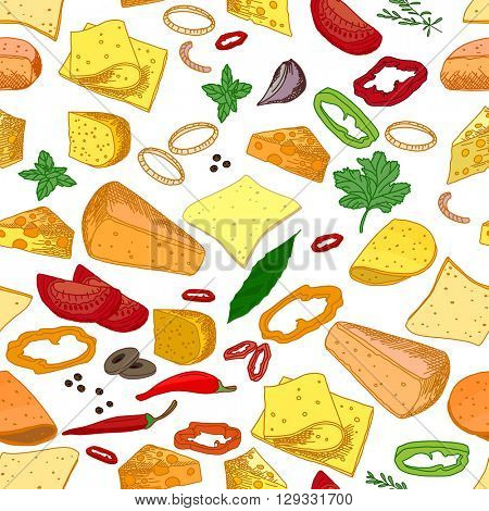 Seamless pattern with different sorts of cheese Endless texture for your design, announcements, restaurant and cafe menu.