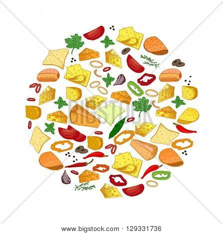 Round template with different sorts of cheese, spice, potherbs. Circle for your design, announcements, restaurant and cafe menu.