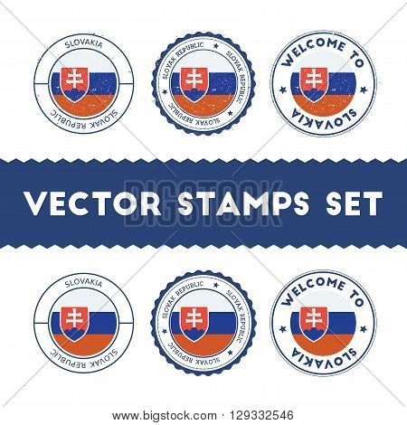 Slovak Flag Rubber Stamps Set. National Flags Grunge Stamps. Country Round Badges Collection.