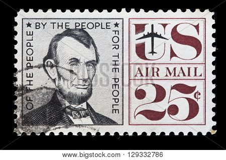 United States Used Postage Stamp Showing The President Abraham Lincoln