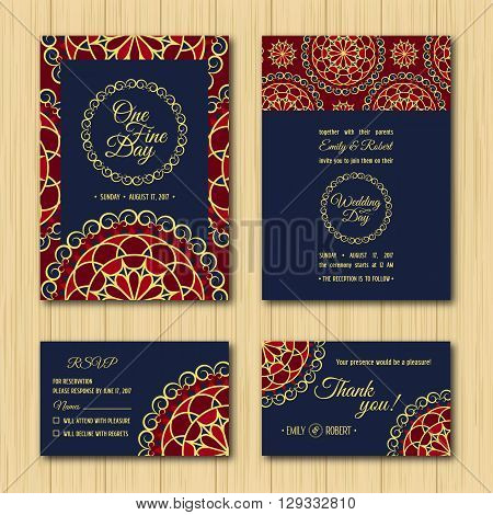 Wedding Invitations Sets: Save the date and RSVP cards. Orange navy blue colour palette for wedding