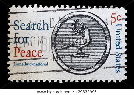 United States Used Postage Stamp Showing The Dove Of Peace