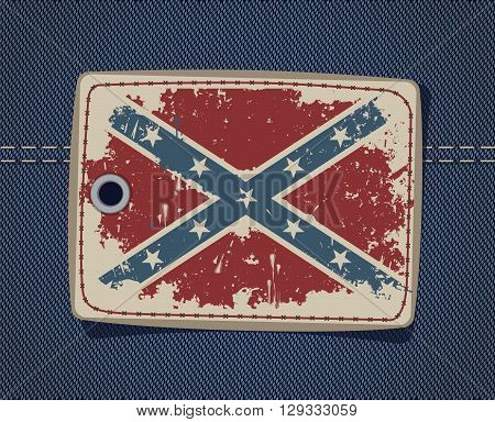 Confederate flag on the leather label on jeans