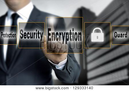 encryption touchscreen is operated by businessman background