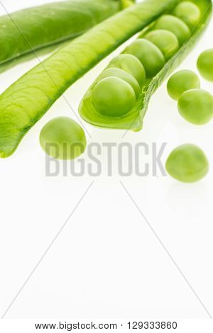 Fresh Green Pea Pods, On White Background With Copy-space