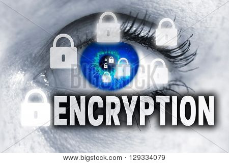 Encryption Eye Looks At Viewer Concept Background