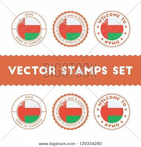 Omani Flag Rubber Stamps Set. National Flags Grunge Stamps. Country Round Badges Collection.