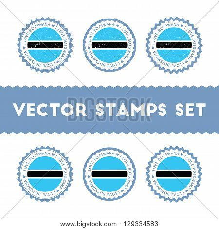 I Love Botswana Vector Stamps Set. Retro Patriotic Country Flag Badges. National Flags Vintage Round