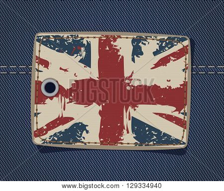British flag on the leather label on jeans