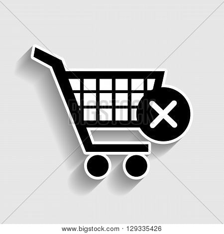 Shopping Cart and X Mark Icon, delete sign. Sticker style icon with shadow on gray.